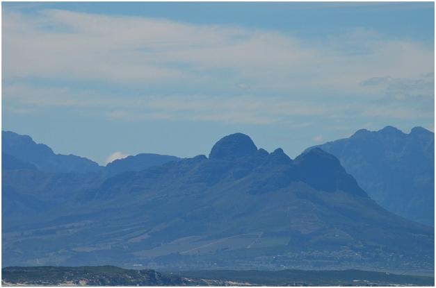 Helderberg mountain seen across False Bay from Muizenberg.