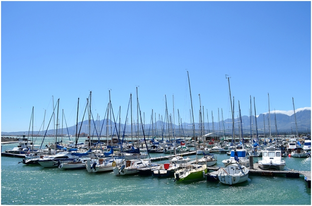 Part of the yacht harbour, Gordon's Bay. The mountains on the horizon are on the Cape Town side of False Bay.